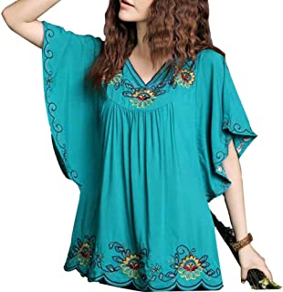 New Floral Embroidered Flowy Sleeve Wrap Ruffled Peasant Tops Blouse