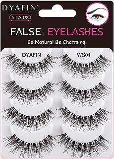 DYAFIN Natural Eyelashes 100% Handmade Lashes Reusable Lightweight Soft False Eyelashes 4 Pairs No Glue Fake Eyelashes