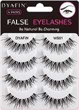 DYAFIN Eyelashes Handmade False Eyelashes Lightweight Natural Fake Eyelashes Pack Professional False Lashes (4 Pair, DF WS01)