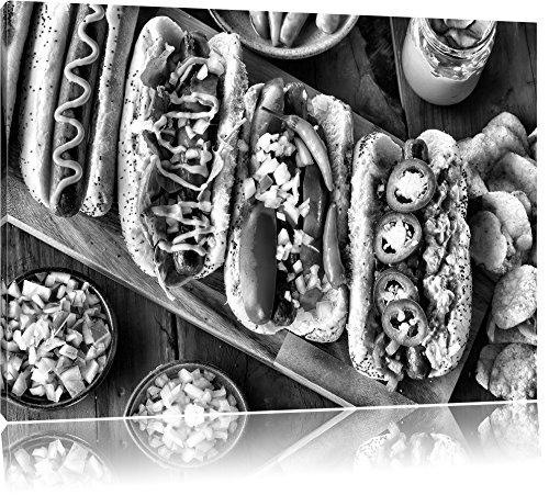 American hot dogsFoto Canvas | Maat: 60x40 cm | Wanddecoraties | Kunstdruk | Volledig gemonteerd