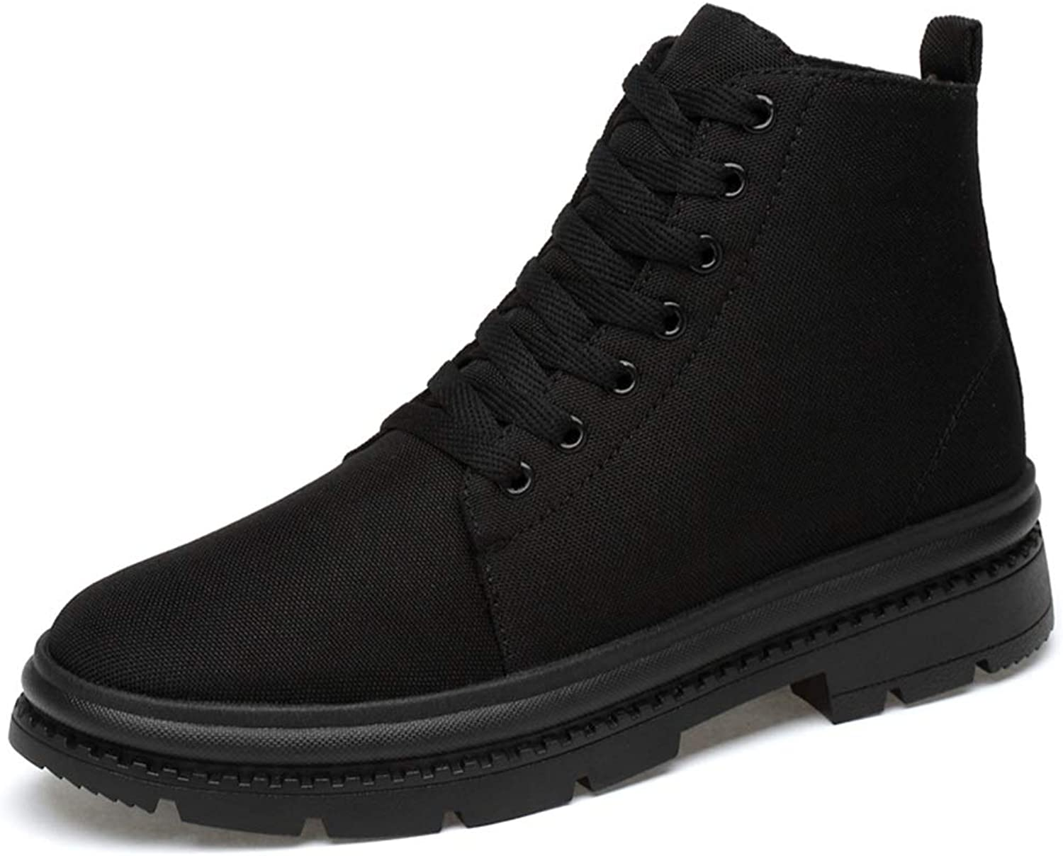 Men's Ankle Boots Canvas Vamp Casual High Top Comfortable Simple Fleece Lined Warm shoes (Conventional Optional)