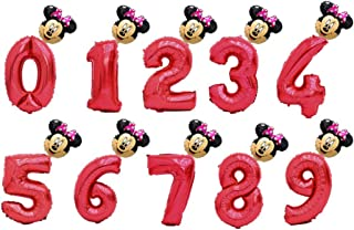 2Pcs/Lot 32Inch Number Foil Balloons Digit Air Ballon Kids Birthday Party Wild One Decorations Figure 30 Ans Decoracao Coroa 32In Red 16In Minnie Number 7
