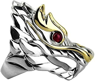 John Hardy Sterling Silver 18K NAGA Dragon Ring Ruby Eyes Size 7 36R