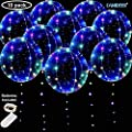 DANIDEER Led BoBo Balloons, 18 Inch 10 PCS Transparent Helium Balloons with STRING LIGHTS 3 Levels Flashing with Batteries included, Light up Bubble Balloons for Birthday, Wedding, Christmas and Party Decoration (Colorful Flashing)