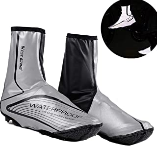 TEUME Reflecetive Bike Shoe Covers Cycling Overshoes, Winter Proof and Water Resistance PU Leather,Velcro Snap,Kevlar Sole(L/XL)