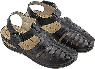 Comfy Wedge Sandal Strap Flat Shoes, Vintage Peep Toe Suede Flats, Wide Fit Sandal (Black, Numeric_5)