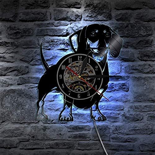 TJIAXU Drahthaar Dackel Wanduhr Hund Wiener Hund Vinyl Schallplatte Wanduhr Pet Shop Welpe Wanddekoration Vintage Clock Breed Geschenkgröße
