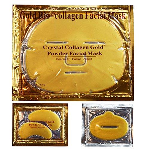 EBP Medical 24K Gold Collagen Combo Set: 10 x Face Facial Mask + 10 x Gold Eye Masks + 10 x Lip Masks. Firm, Tone, Brighten Skin