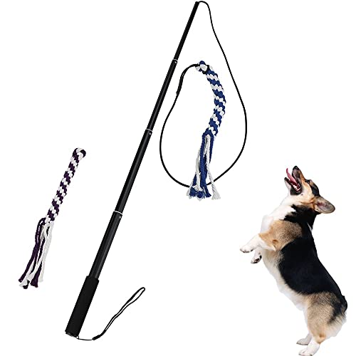ANG Flirt Pole Rope Tug Dog Toy, Braided Cotton Blend Rope Outdoor Interective Toy for Pulling, Chasing, Chewing, Training (L)