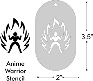 Stencil- Anime Warrior, 1.75x1.5 Inch Image on 3.5x2 Border, Size 1