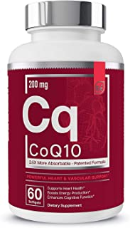 CoQ10 Heart, Brain, and Vascular Support | 200 mg Clinically Proven, Patented Formula - Essential Elements | 2.6 Times Hig...