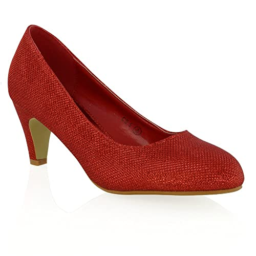 7b75f64a52cc5 Red Low Heel Shoes: Amazon.co.uk