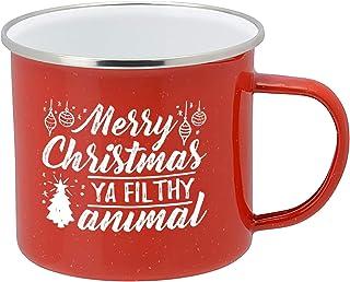 Taza de café con esmalte rojo festivo, 473 ml, taza de caf�