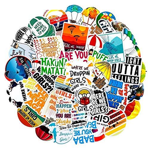 50pcs Adventure Paraglider Parachute Extreme Sport Stickers Decal for Laptop, Phone, Water Bottles, Computer, Luggage Decals, Cars, Teens, Women, Kids, Girls, Vinyl Waterproof Sticker Pack