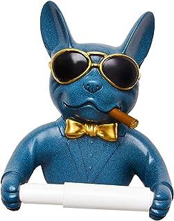 Fenteer 人格トイレットペーパーホルダー犬ティッシュディスペンサーホテル屋内アート装飾ドリルん - ブルー