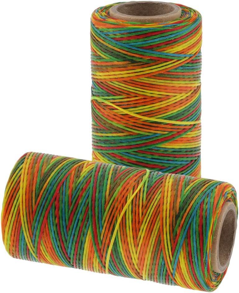 Arlington Mall dailymall 2Pieces 150D 1mm Jacksonville Mall Rainbow Color Thread Sti Waxed Sewing