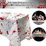 PERFETSELL 2 Stücke Halloween Tischdecke Blutige Halloween Tischdeko 260*130cm Handabdruck Tischtuch für Karneval Fasching Halloween Party Dekoration - 4