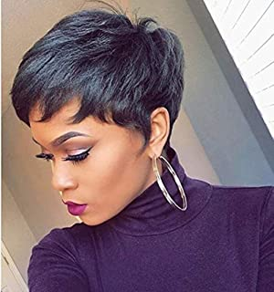 Pixie Cut Wigs for Black Women Black Short Cut Wigs Human Hair Bump Wig, 4 Inch Short Boy Cut Wigs, Black Women's Short Wig 2019 Autumn Style