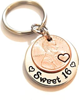 Sweet 16 Happy 16th Birthday Lucky Copper 2005 Penny Key Chain for New Driver Gift