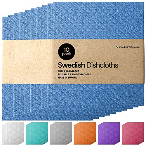 Swedish Dishcloth Cellulose Sponge Cloths - Bulk 10 Pack of Eco-Friendly No Odor Reusable Cleaning Cloths for Kitchen - Absorbent Dish Cloth Hand Towel (10 Dishcloths)