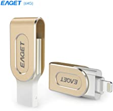 U Disk Rotation Metal, EAGET 2-in-1 i80 USB 3.0 Memory Flash Drive for iPhone/iPad, Golden (32GB)