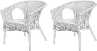 Rotin Design REBAJAS : -49% Lote de 2 sillones de mimbre Chris blanco moderno y barato