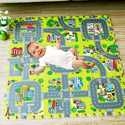 Jo113nnye Tappeto Puzzle da Pavimento per Bambini a Forma di Città Strade Antiscivolo Tappeto Strisciante da Gioco per Neonati
