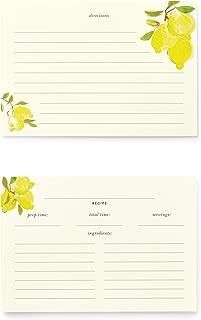 Kate Spade New York Double Sided Recipe Card Set of 40 (Lemons)