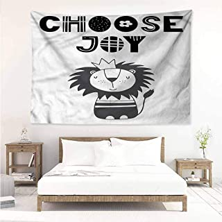Sunnyhome Tapestry Hippie,Lion King of The Jungle Quote,Occlusion Cloth Painting,W59x39L