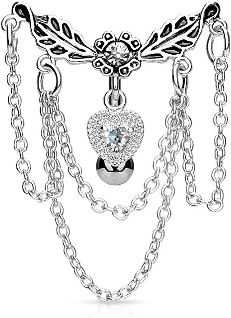 14GA 316L Surgical Steel Leaflet Chandelier Chained Heart Top Down Dangling Belly Button Ring