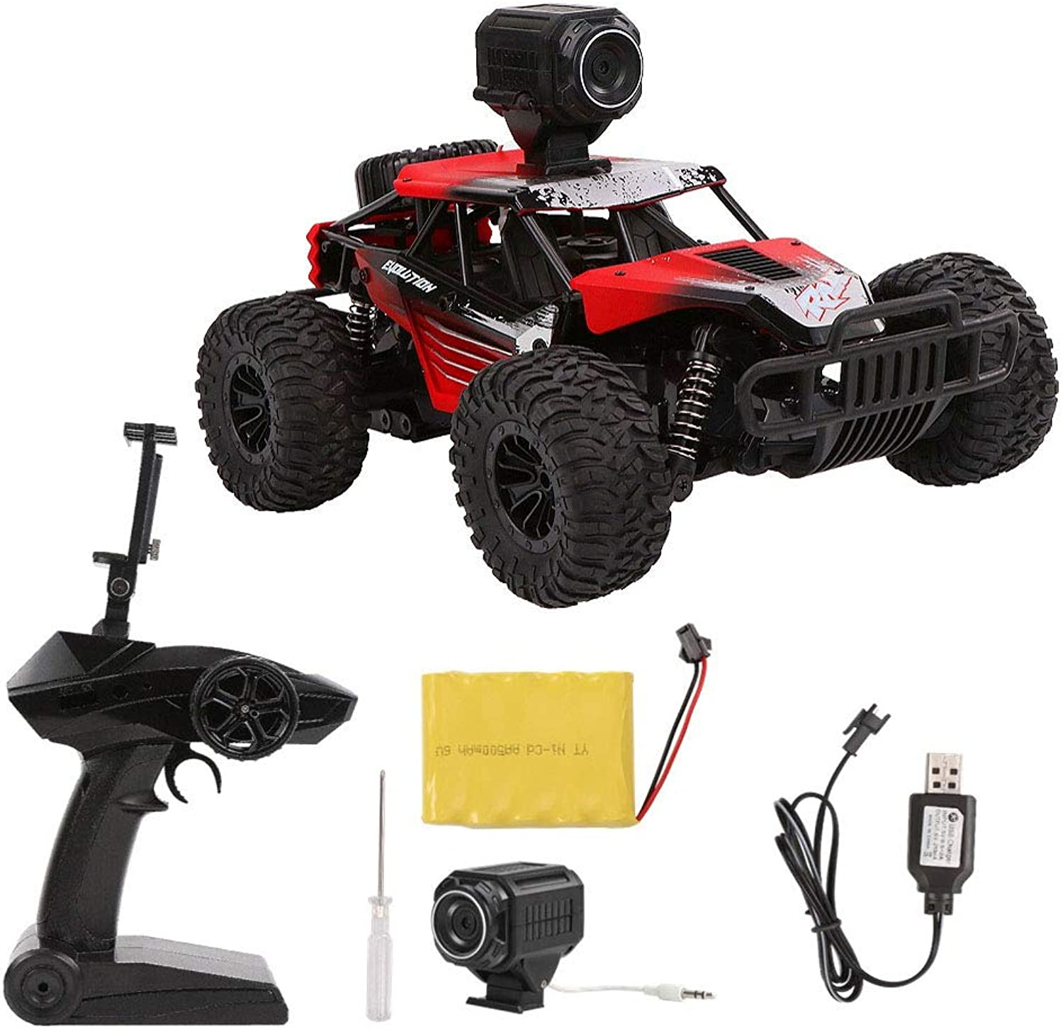 Ocamo RC Car HQ1801 1 18 2.4G 4WD OffRoad RC Electric Car Off Road Truck red With WIFI 720P camera
