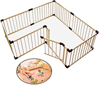 Playpens Portable Wood Baby Child Playard With Door - Large Foldable Play Center Yard Kids Safety Fence For Home Nursery, ...