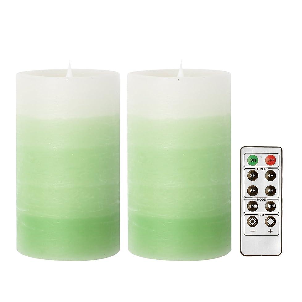 ネズミ承認酸GiveU(家印象) LEDキャンドル ピラーキャンドル 照明 タイマー機能付き 電池付き 便利 リモコン対応 明るさ調整可能 フェイクキャンドル コバルトプルー 2個セット