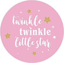 MAGJUCHE 2 Inch Pink Twinkle Twinkle Little Star Stickers, Girl Baby Shower or Kids Birthday Party Circle Sticker Labels, 40-Pack
