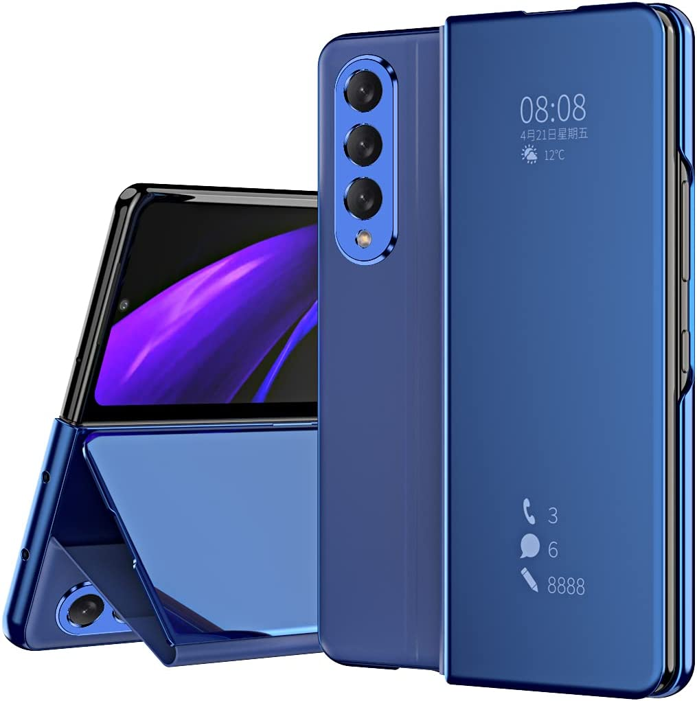 DEMCERT for Samsung Galaxy Z Fold 3 Case, Flip Mirror Surface Full Protection Cover PU Leather Hybrid PC Protection Cover for Samsung Galaxy Z Fold 3 5G (Blue)