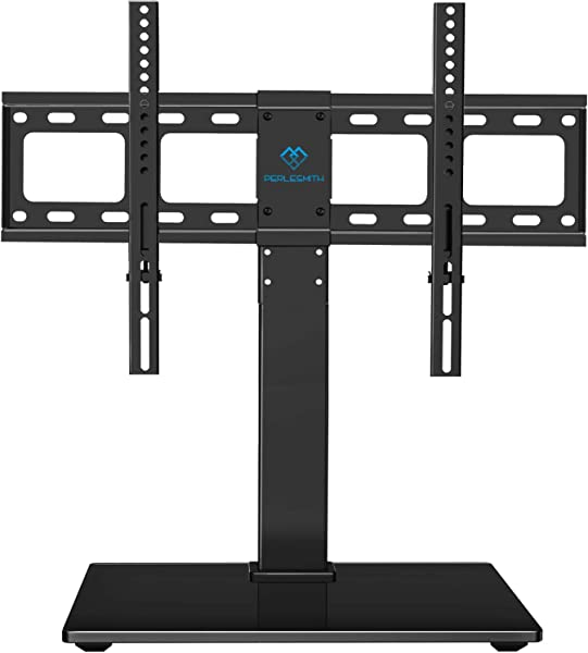 PERLESMITH Universal Swivel TV Stand Base Table Top TV Stand For 37 65 Inch LCD LED TVs Height Adjustable TV Mount Stand With Tempered Glass Base VESA 600x400mm Holds Up To 88lbs