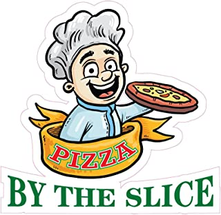 Pizza by The Slice Concession Restaurant Die-Cut Window Static Cling 18 inches Inside Glass