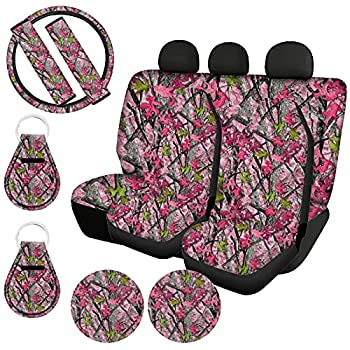 Xhuibop Pink Camo Car Seat Covers for Women Seat Belt Covers for Adults Steering Wheel Covers 15 Inch Cup Coasters Holder Car Keys Keychain Accessories Full Set 11 Pieces
