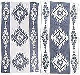 Bersuse 100% Algodon - Tulum Toalla Turca - Fouta Toalla de Playa y Toalla de Baño - Doble Capa - Diseño Asia Menor, Oeko-Tex - 95 x 175 cm, Azul Oscuro