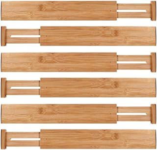 Ecozoi Bamboo Expandable Drawer Organizer Dividers, Set of 6 Spring Adjustable In-Drawer Kitchen Organizer Drawer Separators with Anti-Scratch Foam Edges, for Bedroom, Bathroom, Office, Dresser