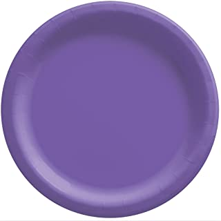 """Amscan 650011.106 New Purple Round Paper Plates Big Party Pack, 8 1/2"""", 50ct"""