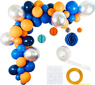 Outer Space Party Balloons 63 Pack, 12inch 5inch Orange Royal Blue Metallic Silver Latex Balloons 10inch Navy Blue Balloon Honeycomb Balls Balloon Strip Set for Baby Shower Birthday Party Supplies