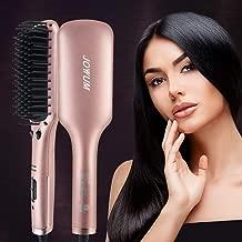 Hair Straightener Brush, JOYYUM Electrical Ionic Heated Irons Hair Straightening Brush with Fast Heating, PTC Ceramic Technology, Auto shut-off, Frizz-Free Hot Air Brush for Home Salon, Champane Gold