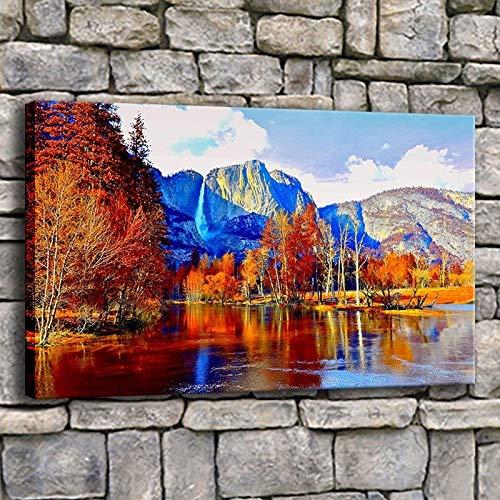 Wandkunstdrucke Bilder Herbst Berg Wasserfall Blätter Malerei Landschaft Leinwand Poster Hauptdekoration (kein Rahmen) R1 30x45CM