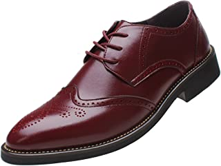 Mens Stylish Pointed-Toe Dress Shoes Classic Brogue Oxfords/Derbies Business Wingtip Shoes