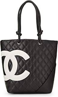 CHANEL Black Quilted Calfskin Cambon Ligne Tote Small (Pre-Owned)
