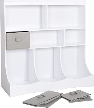 MUPATER Kids Toy Box Storage Organizer Cabinet with Bookshelf and Basket Bins, Children Cubby Shelving Bookcase with 8 Compar