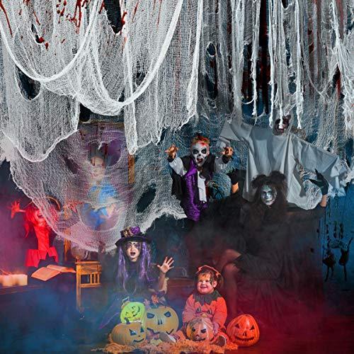 Halloween Gruselig Stoff Halloween Dekostoff Halloween Stoff Tuch für Windows Tisch Türen Party Deko Halloween Party Outdoor Dekoration Weiß(183 X 610 cm)