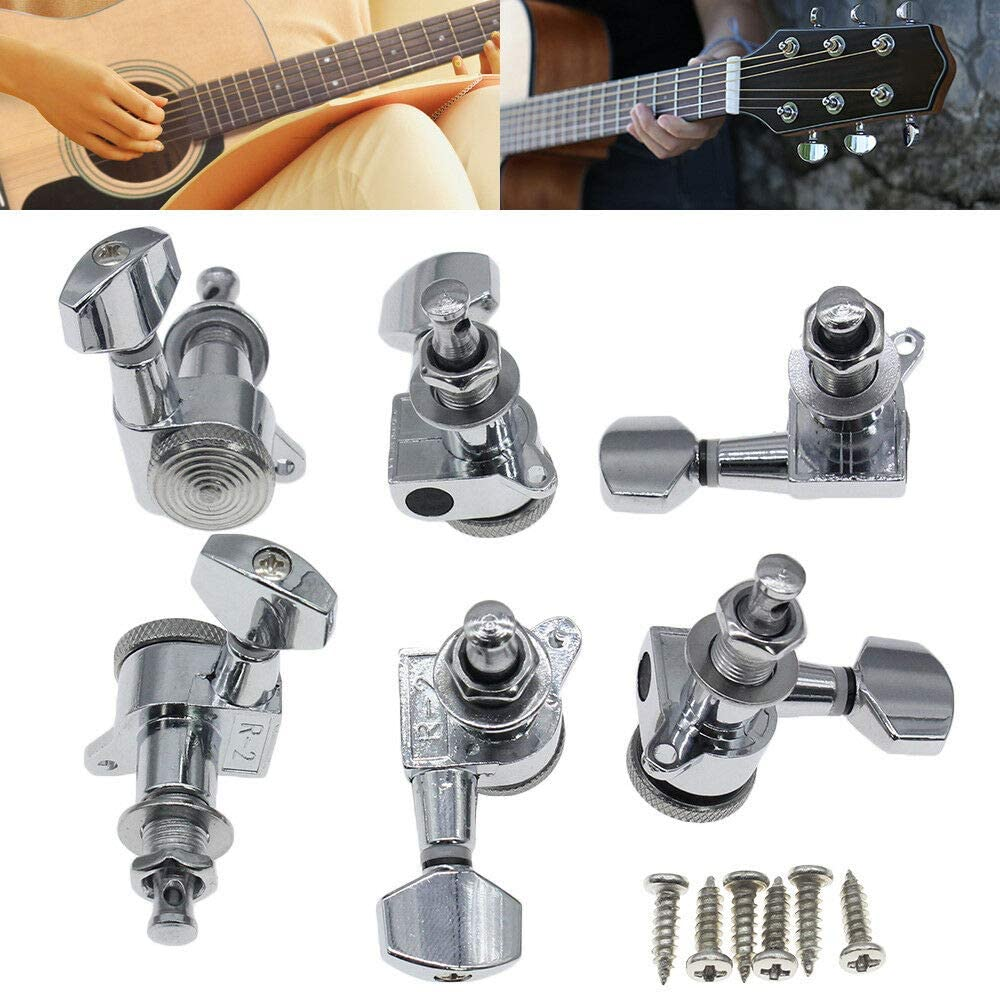 6Pcs Guitar Locking Many popular brands Tuners 3L + Key Pe Great interest Tuning 3R Sealed Handed