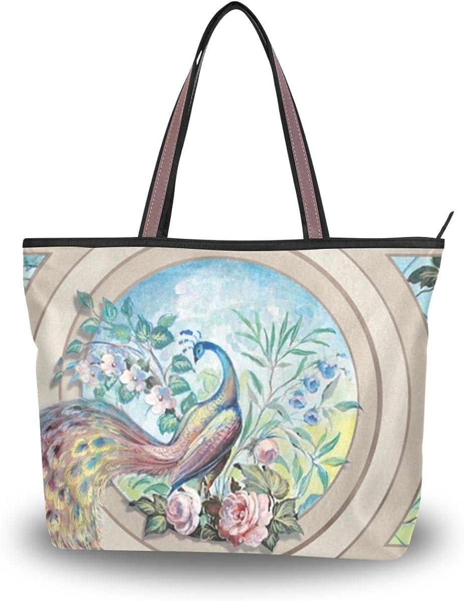 JSTEL Women Large Tote Top Handle Shoulder Bags Peacock And Flowers Patern Ladies Handbag